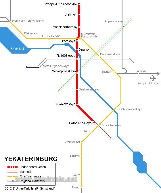 Rusya - Ekaterinburg Tramvay Hattı ve Güzergah Haritası