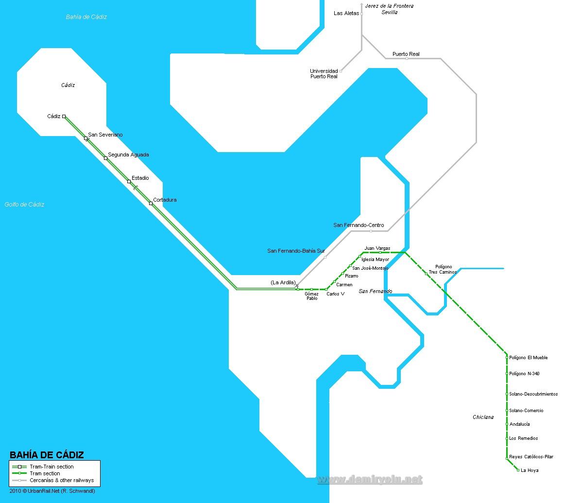 İspanya -  Bahía de Cádiz tramvayı güzergah haritası