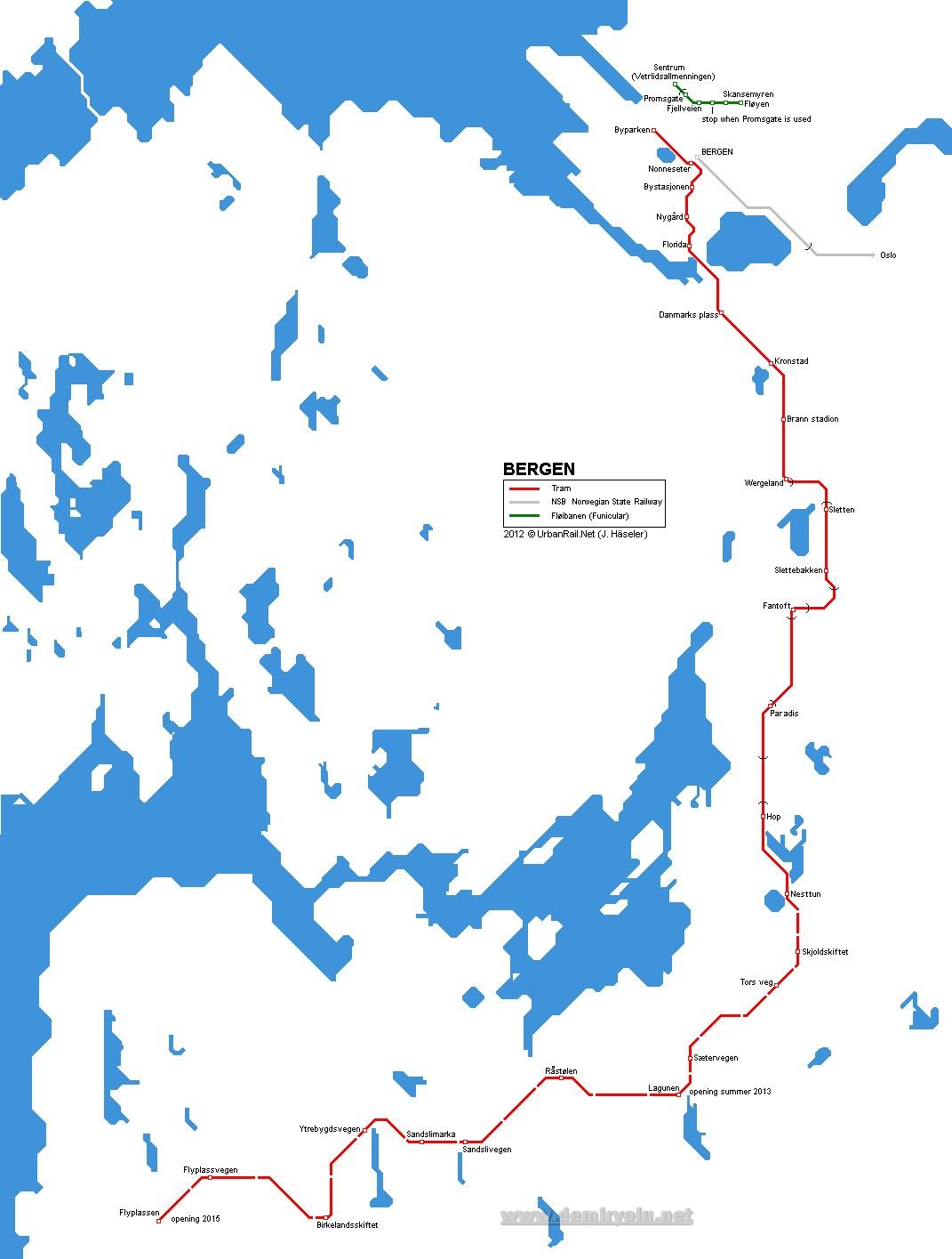 Norveç - Bergen Tramvayı Güzergahı Haritası