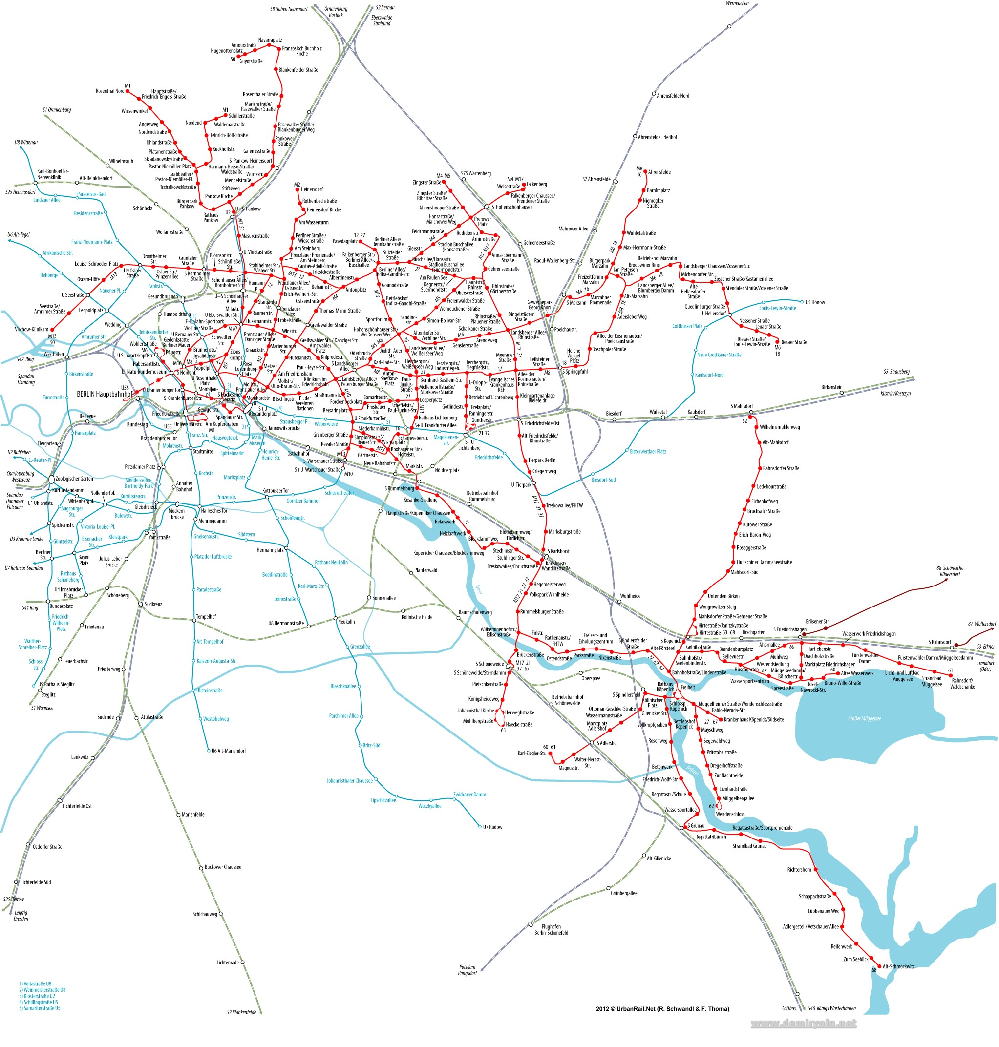 Almanya - Berlin Metrosu ve Tramvayı Güzergah Haritası