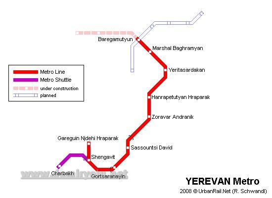 Ermenistan - Erivan Metrosu Güzergah Haritası