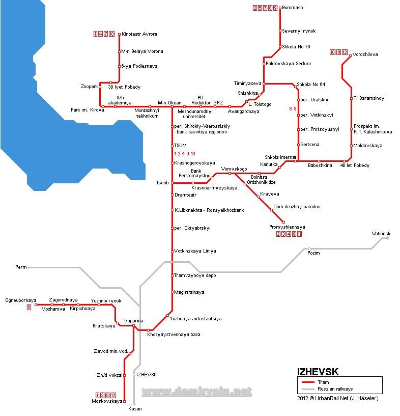 Rusya - İjevsk (izhevsk) Tramvay Hatları ve Güzergahı Haritası