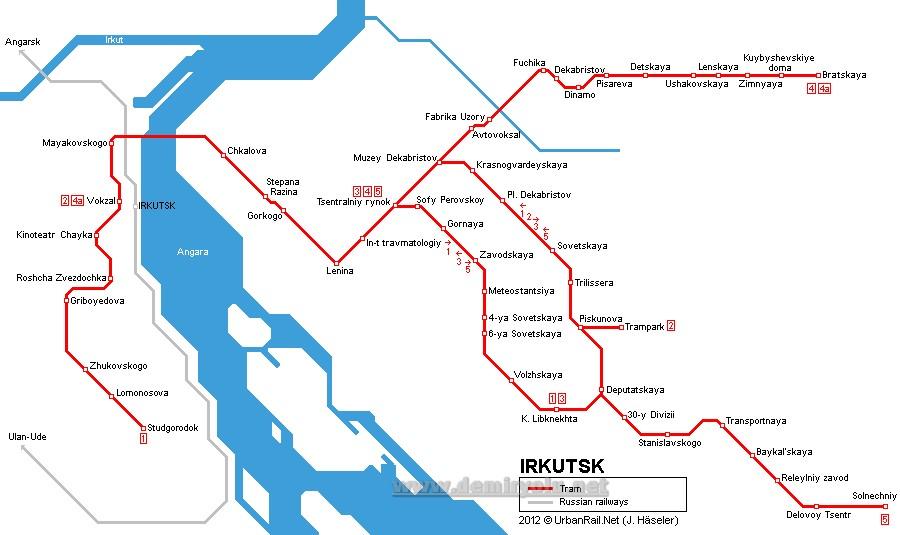 Rusya - İrkutsk Tramvay Hatları ve Güzergahı Haritası