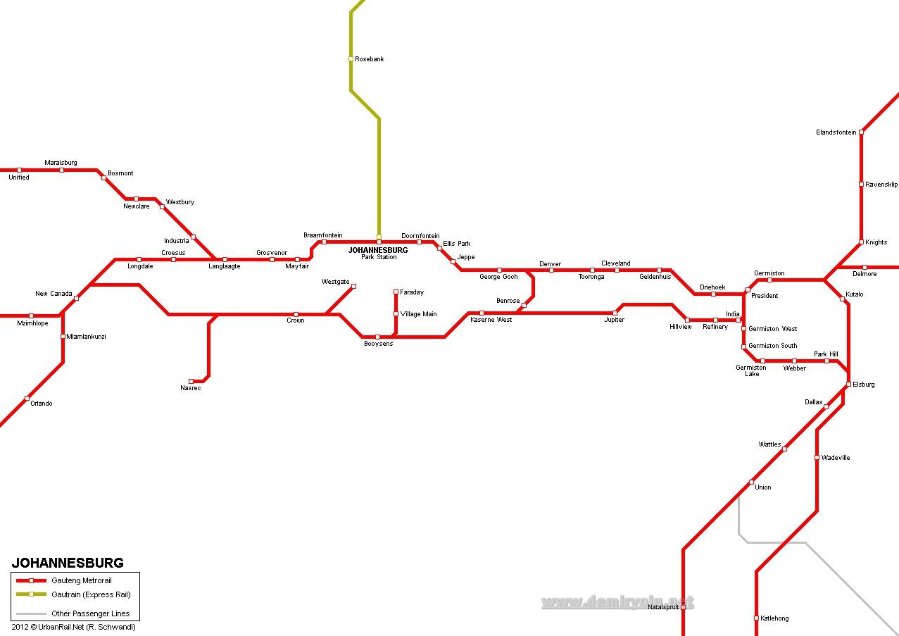 Güney Afrika - Johannesburg Metro Hattı ve Güzergah Haritası