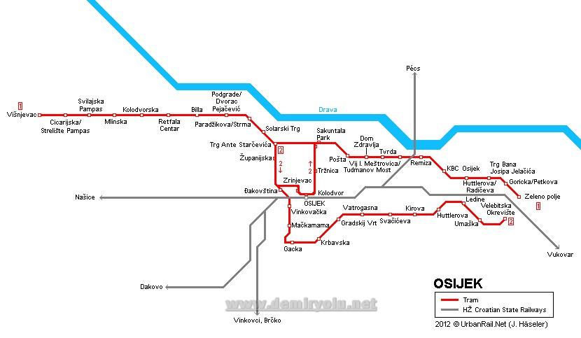Hırvatistan - Osijek Tramvay Hattı ve Güzergah Haritası