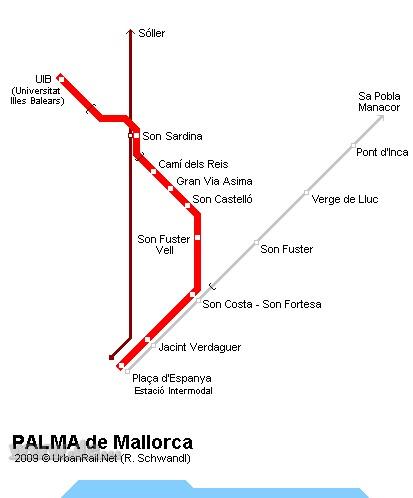 İspanya - Palma Tramvay Hattı ve Güzergah Haritası