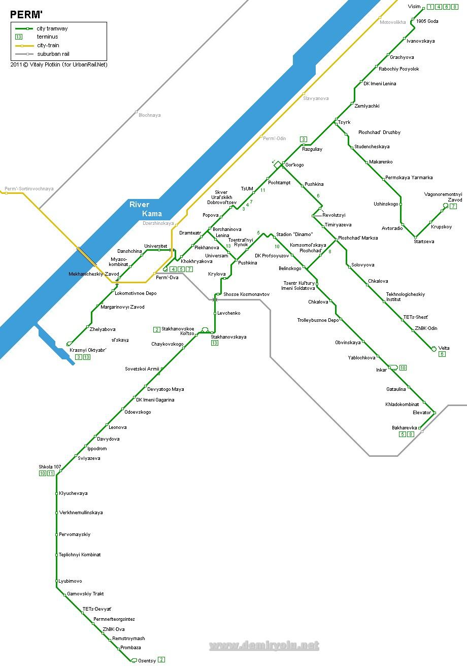 Perm Tramvay Hattı ve Güzergah Haritası