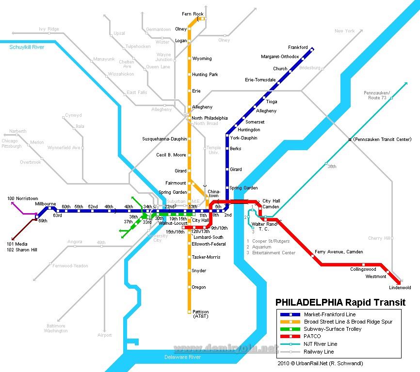ABD - Philadelphia Metro Hattı ve Güzergah Haritası