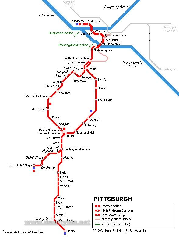 ABD - Pittsburgh Metrosu Hatları ve Güzergah Haritası