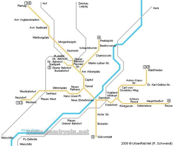 Almanya - Plauen Tramvay Hattı ve Güzergah Haritası