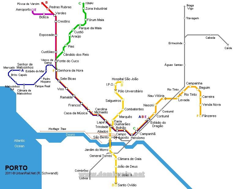 Portekiz - Porto Metro ve Tramvay Hattı Güzergah Hattı