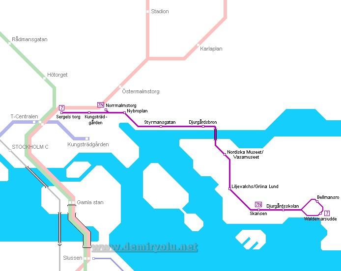 İsveç - Stokholm Metro ve Tramvay Hattı ve Güzergah Haritası