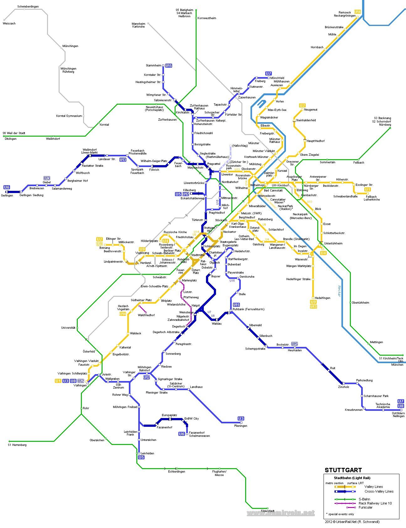 Almanya - Stuttgart Tramvay Hattı ve Güzergah Haritası