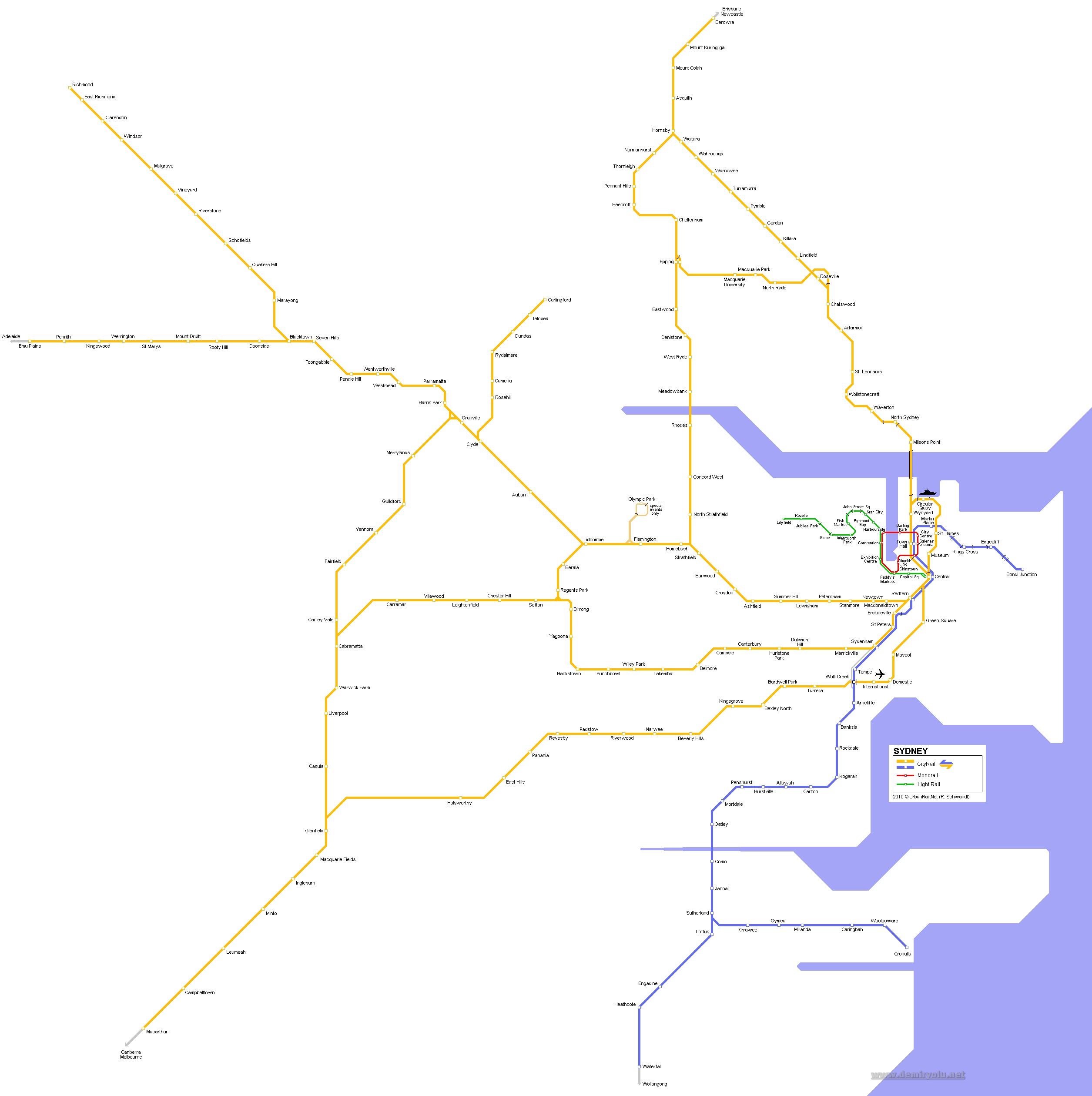 Avustralya - Sidney Metro Hattı ve Güzergahı Haritası