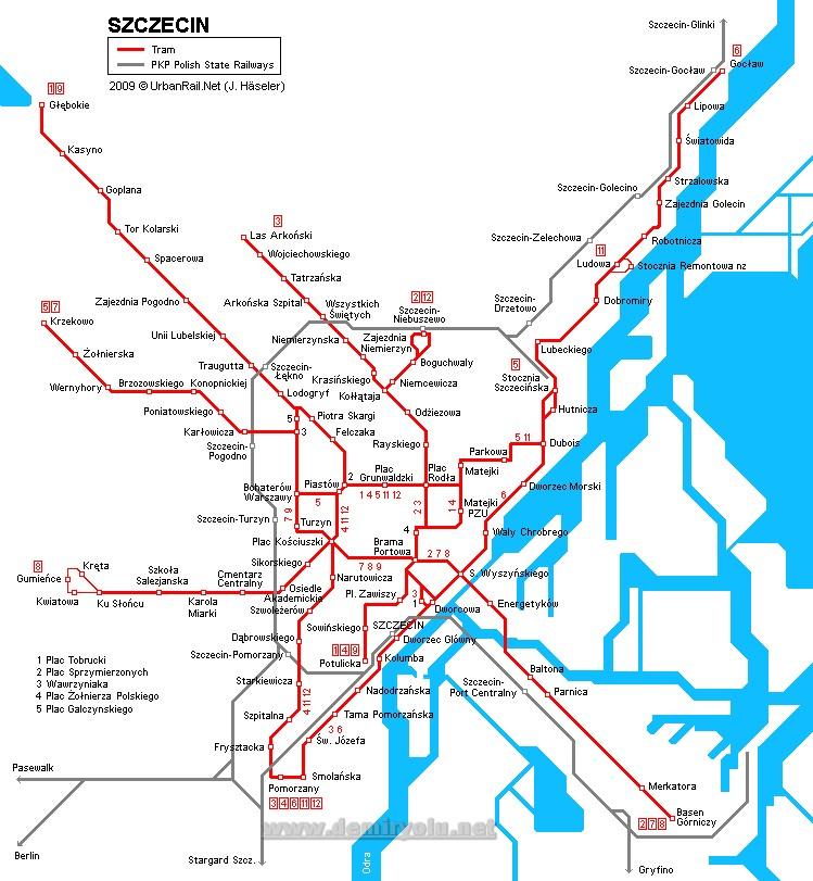 Polonya - Szczecin Tramvay Hattı ve Güzergah Haritası
