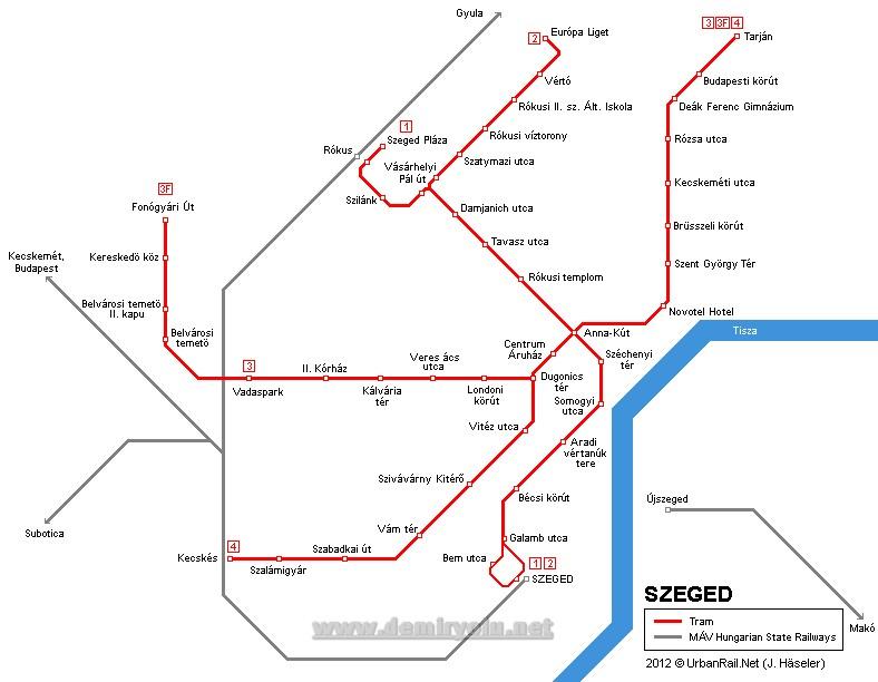 Macaristan - Szeged Tramvay Hattı ve Güzergah Haritası
