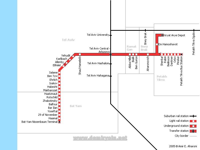 İsrail - Tel Aviv Tramvayı Güzergahı Haritası
