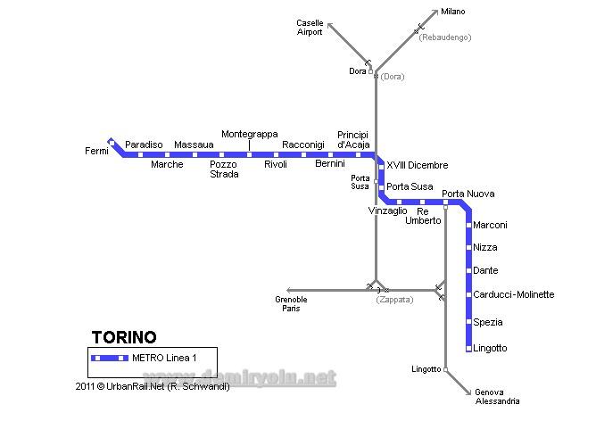 İtalya - Torino  Metro - Tramvay Hattı ve Güzergah Haritası