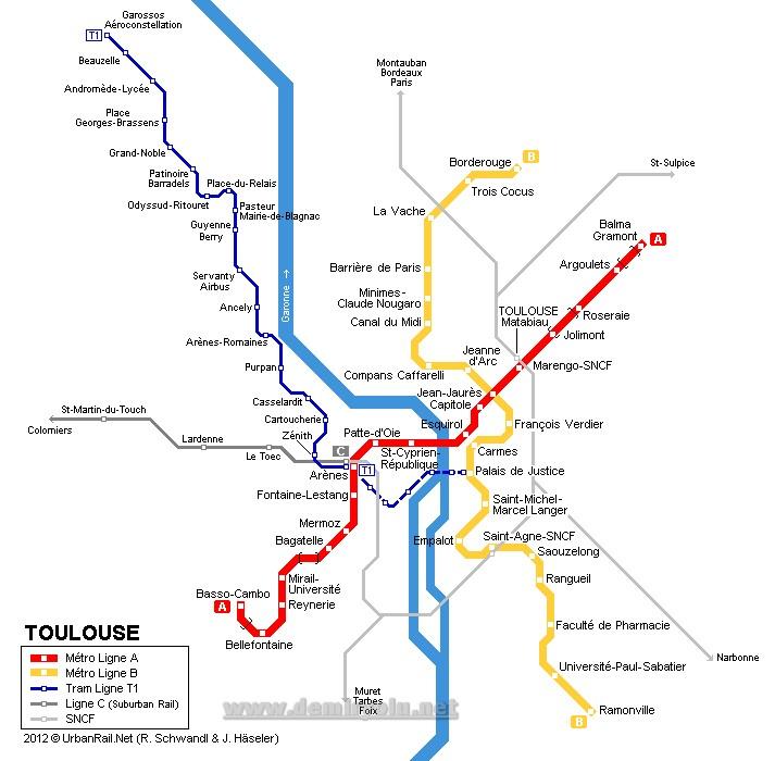 Fransa - Toulouse Tramvay Hattı ve Güzergah Haritası