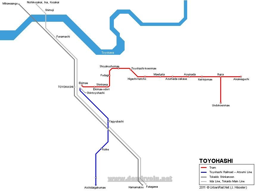 Japonya - Toyohashi Tramvay Hattı ve Güzergah Haritası