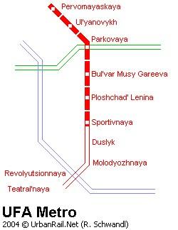 Rusya - Ufa Tramvay Hattı ve Güzergah Haritası