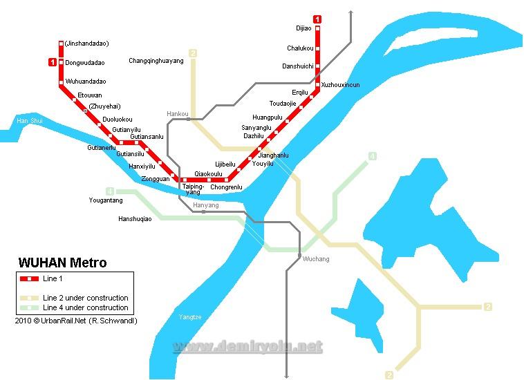 Çin - Vuhan Metro Hattı ve Güzergah Haritası