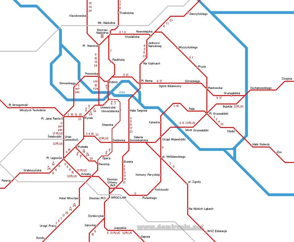 Wroclaw Tramvay Hattı ve Güzergah Haritası