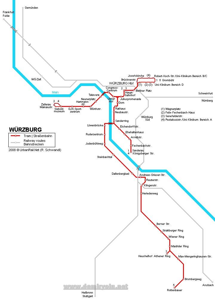 Almanya - Würzburg Tramvay Hattı ve Güzergah Haritası