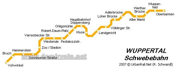 Almanya - Wuppertal  Metro-Tramvay Hattı ve Güzergah Haritası