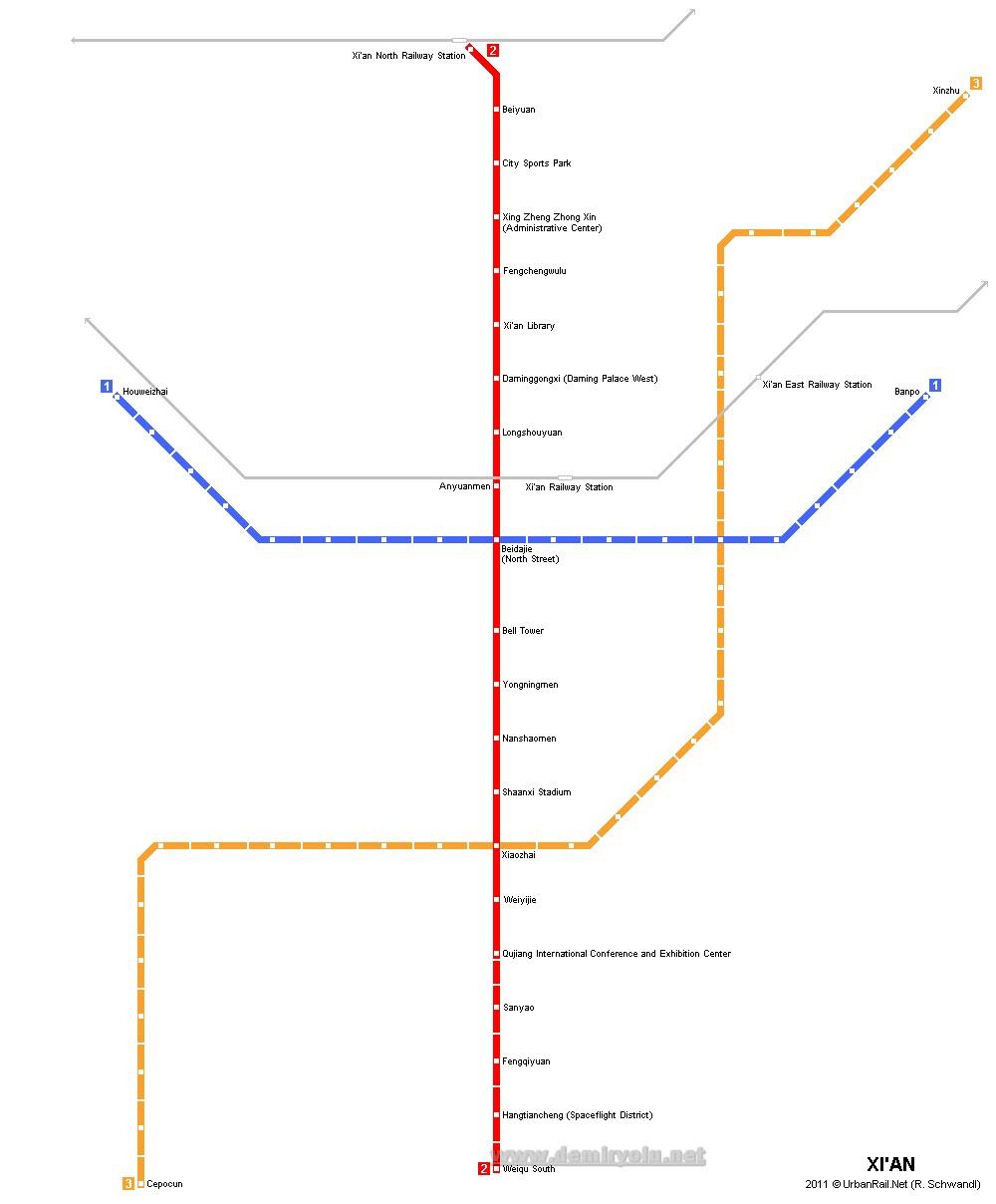 Çin - Xian (Şian) Metro Hattı ve Güzergah Haritası