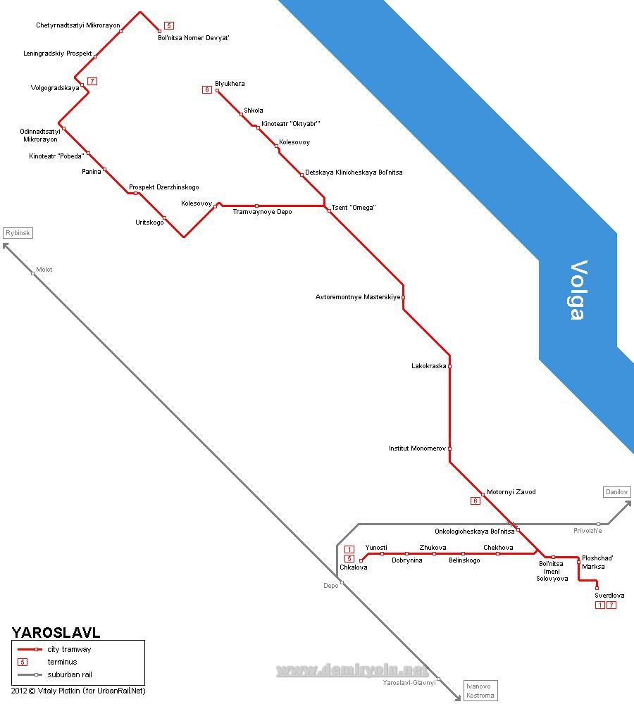 Rusya - Yaroslavl Tramvay Hattı ve Güzergah Haritası