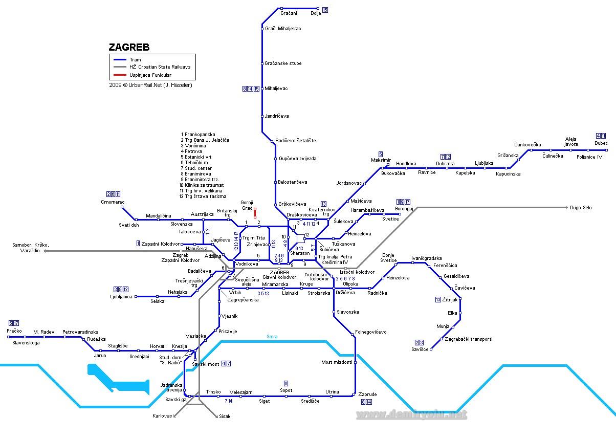 Hırvatistan - Zagreb Tramvay Hattı ve Güzergah Haritası