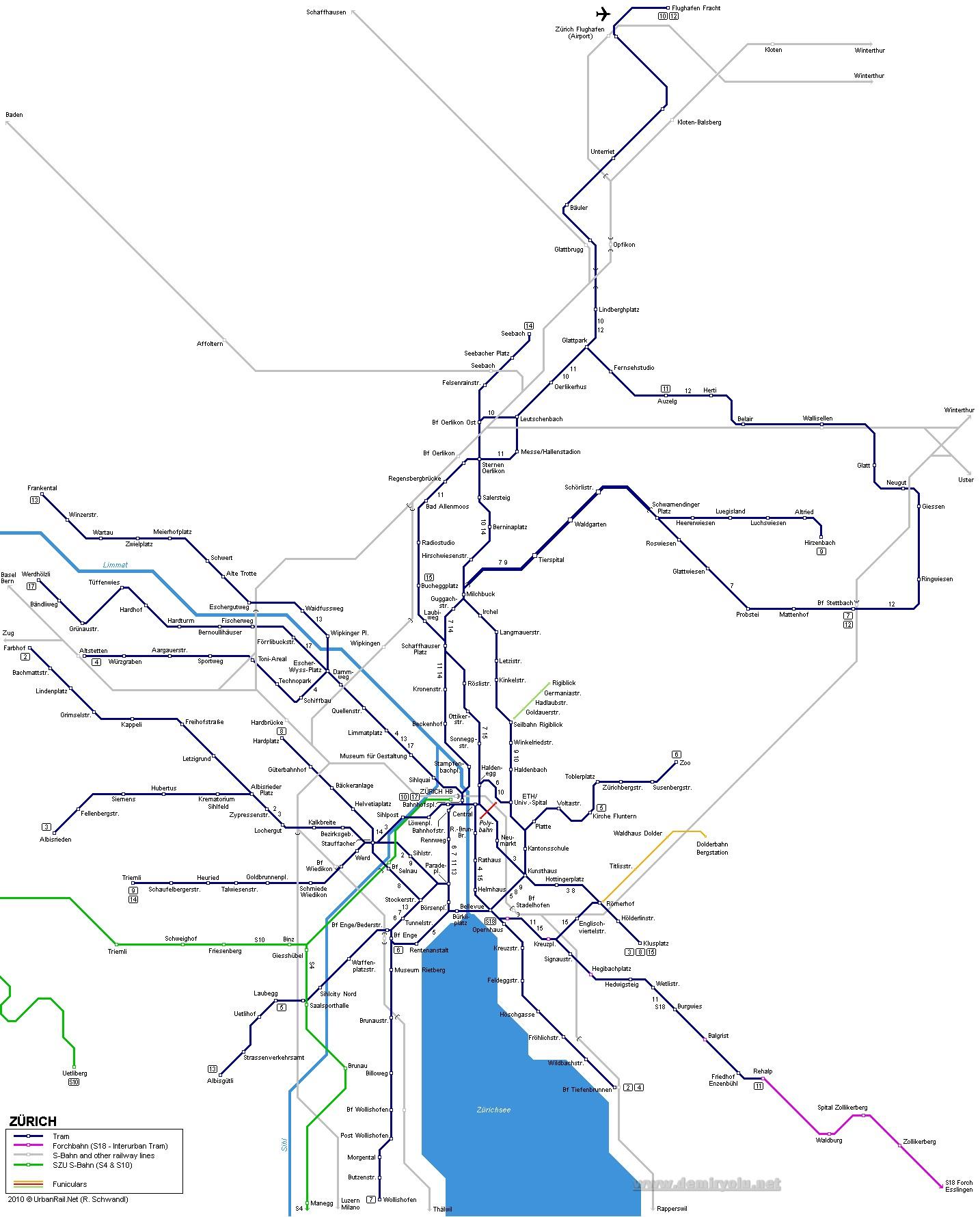 İsviçre - Zürih Tramvay Hattı ve Güzergah Haritası